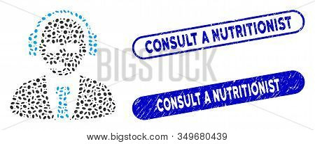 Mosaic Support Manager And Rubber Stamp Seals With Consult A Nutritionist Phrase. Mosaic Vector Supp