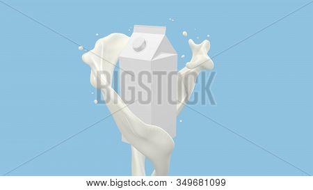 3d Render Of Milk Carton Box With Milk Flow Splashes, 4k Ultra Hd 3840x2160.