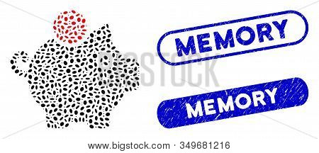 Mosaic Piggy Bank And Rubber Stamp Seals With Memory Text. Mosaic Vector Piggy Bank Is Created With