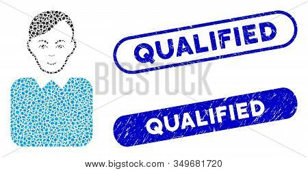 Collage Bureaucrat And Corroded Stamp Seals With Qualified Caption. Mosaic Vector Bureaucrat Is Comp