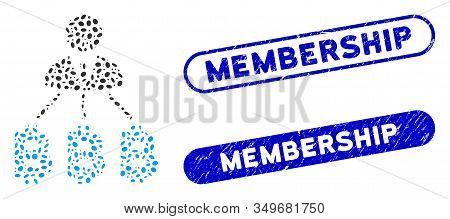 Mosaic Businessman Bitcoin Expences And Distressed Stamp Seals With Membership Text. Mosaic Vector B