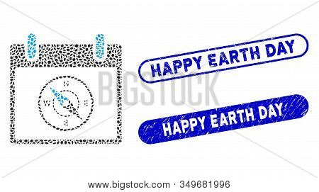 Mosaic compass calendar day and distressed stamp seals with Happy Earth Day text. Mosaic vector compass calendar day is designed with randomized oval dots. Happy Earth Day stamp seals use blue color, poster