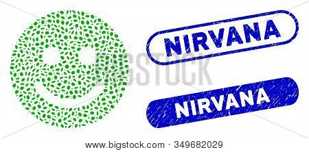 Mosaic Glad Smile And Grunge Stamp Seals With Nirvana Caption. Mosaic Vector Glad Smile Is Designed