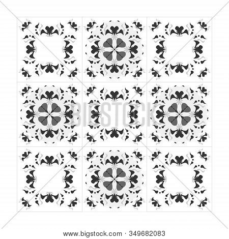 Pattern Hearts Black White And Grey. Seamless. Decorative Element. This Pattern Can Be Used For Wall