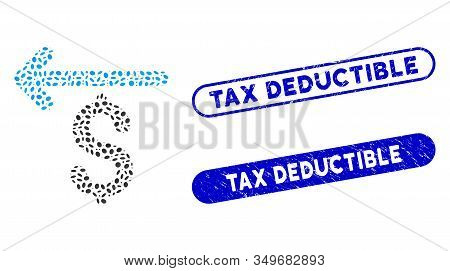 Mosaic Cashback And Corroded Stamp Watermarks With Tax Deductible Text. Mosaic Vector Cashback Is Cr