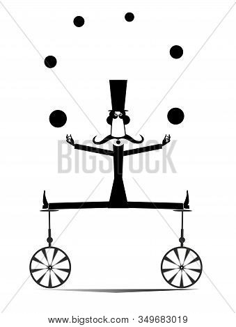 Equilibrist Mustache Man On Two Unicycles Juggles The Balls Illustration. Funny Long Mustache Man In