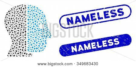 Mosaic Hidden Profile And Rubber Stamp Seals With Nameless Caption. Mosaic Vector Hidden Profile Is