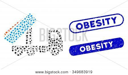 Mosaic Unloading Tipper And Grunge Stamp Seals With Obesity Caption. Mosaic Vector Unloading Tipper