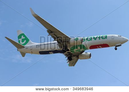 Amsterdam The Netherlands - July 22nd 2018: Ph-hsa Transavia Boeing 737-800 Final Approach To Schiph