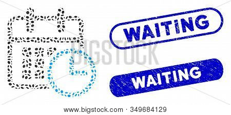 Mosaic Timetable Clock And Corroded Stamp Seals With Waiting Text. Mosaic Vector Timetable Clock Is