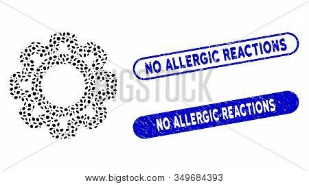 Mosaic Gear And Rubber Stamp Watermarks With No Allergic Reactions Text. Mosaic Vector Gear Is Compo