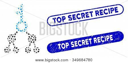 Mosaic Binary Key And Grunge Stamp Seals With Top Secret Recipe Phrase. Mosaic Vector Binary Key Is