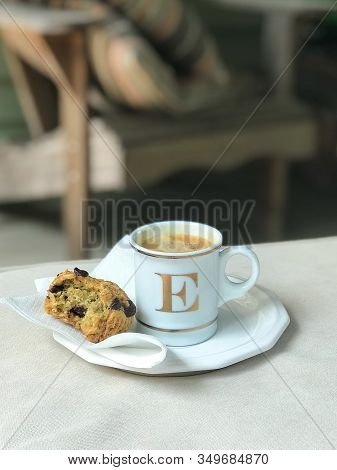 Woodbridge, New Jersey / United States - July 11, 2018: A Williams Sonoma Mug Filled With Espresso S