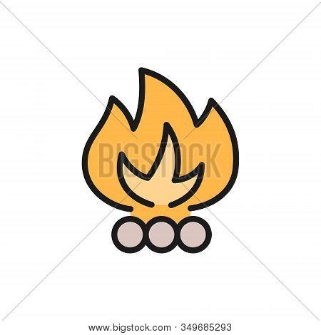 Vector Bonfire, Waste Incineration, Garbage Flat Color Line Icon.