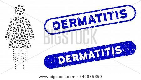 Mosaic Woman Crutches And Distressed Stamp Seals With Dermatitis Text. Mosaic Vector Woman Crutches