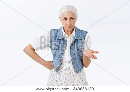 Annoyed Serious-looking Impatient Senior Woman Cant Understand What Your Deal, Raise Hand Dismay, St