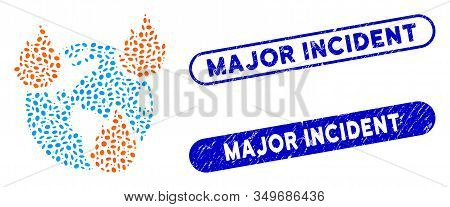 Mosaic Earth Disasters And Rubber Stamp Watermarks With Major Incident Phrase. Mosaic Vector Earth D