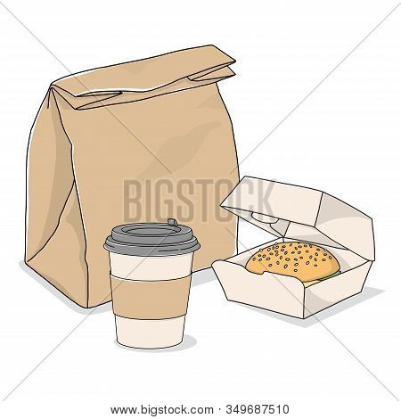 Take-away Food. Paper Bag, Coffee In A Disposable Cup And A Sandwich On A White Background.