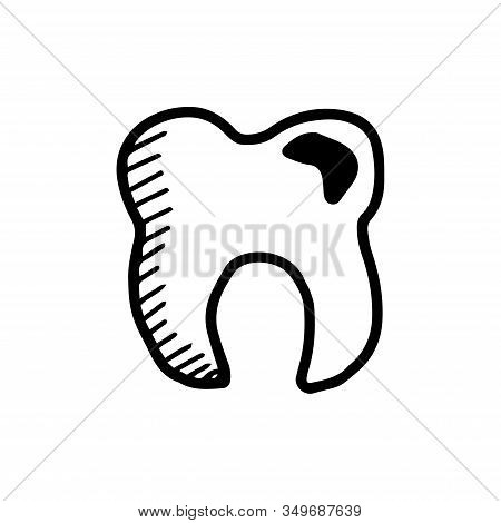 Healthy Or Diseased Molar Or Deciduous Toothin In Hand Drawn Doodle Style Isolated On White Backgrou