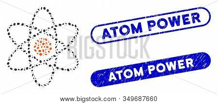 Mosaic Atom And Rubber Stamp Seals With Atom Power Caption. Mosaic Vector Atom Is Composed With Rand