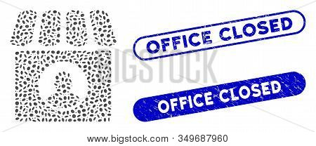 Mosaic Shop Seller And Distressed Stamp Seals With Office Closed Phrase. Mosaic Vector Shop Seller I