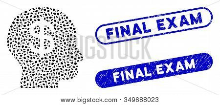 Mosaic Business Idea And Grunge Stamp Watermarks With Final Exam Caption. Mosaic Vector Business Ide