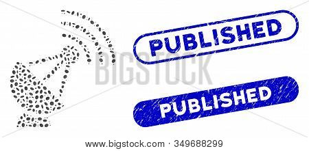 Mosaic Radio Transmitter And Rubber Stamp Seals With Published Phrase. Mosaic Vector Radio Transmitt