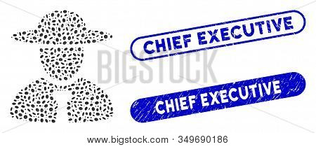Mosaic Boss And Distressed Stamp Seals With Chief Executive Phrase. Mosaic Vector Boss Is Composed W