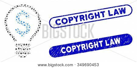 Mosaic Patent Bulb And Corroded Stamp Seals With Copyright Law Caption. Mosaic Vector Patent Bulb Is