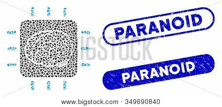 Mosaic Neural Processor And Grunge Stamp Seals With Paranoid Phrase. Mosaic Vector Neural Processor