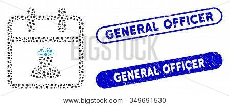 Mosaic Police Day And Distressed Stamp Watermarks With General Officer Text. Mosaic Vector Police Da