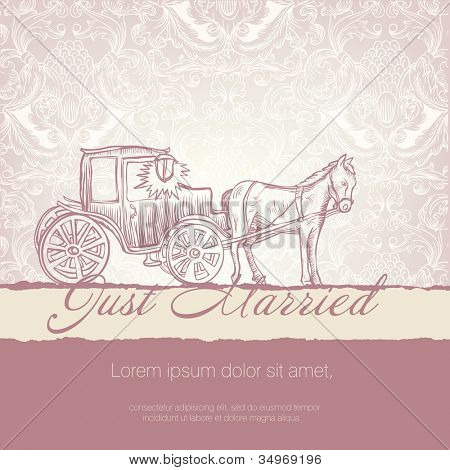 Wedding card with typographics template. Raster version.