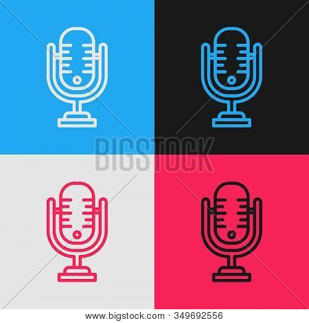 Color Line Microphone Icon Isolated On Color Background. On Air Radio Mic Microphone. Speaker Sign.