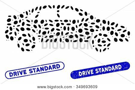Mosaic Sedan Car And Grunge Stamp Watermarks With Drive Standard Text. Mosaic Vector Sedan Car Is De