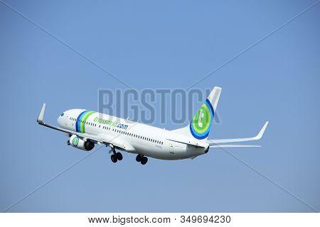 Amsterdam The Netherlands - May 6th, 2017: Ph-hsj Transavia Boeing 737 Takeoff From Polderbaan Runwa
