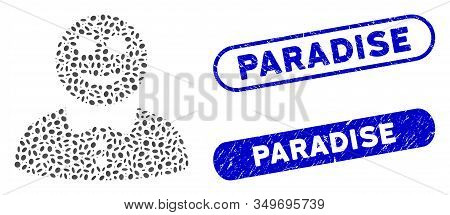 Mosaic Happy Boy And Grunge Stamp Seals With Paradise Phrase. Mosaic Vector Happy Boy Is Composed Wi