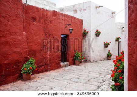 Terracotta And White Walls Of Buildings Monastery Of Santa Catalina, Arequipa, Peru