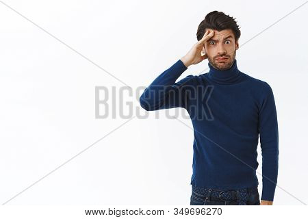 Phew, What A Day. Tired Distressed Handsome Bearded Man In Stylish High Neck Sweater, Wipe Sweat Fro