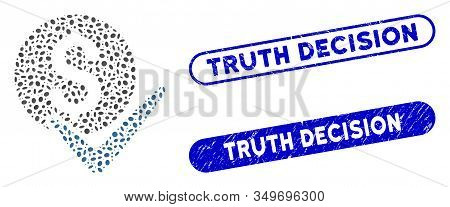 Mosaic Accept Payment And Distressed Stamp Seals With Truth Decision Caption. Mosaic Vector Accept P