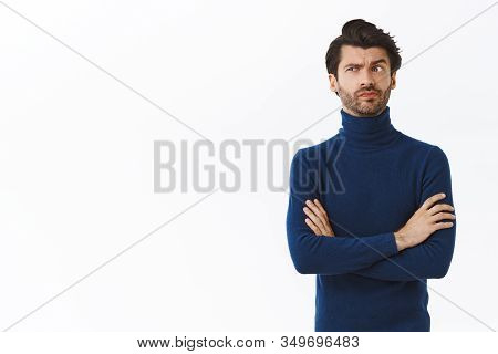 Skeptical, Pissed Serious-looking Male Employer In High Neck Blue Sweater, Cross Arms Over Chest, Sm