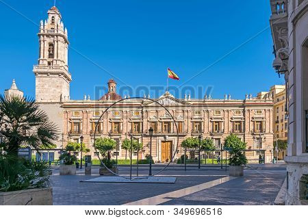 Valencia, Spain - November 3, 2019: Plaza Tetuan With The Santo Domingo Convent Hosting The Former M