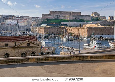 Marseille, France - November 1, 2019: View From The Vaudoyer Sreet At The Old Port With All Kinds Of