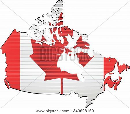 Shiny Grunge Map Of The Canada - Illustration,  Three Dimensional Map Of Canada