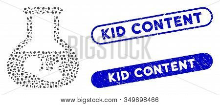 Mosaic In Vitro Embryo And Grunge Stamp Seals With Kid Content Caption. Mosaic Vector In Vitro Embry