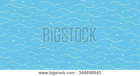 Vector Abstract Hand Drawn Wavy Ocean Pattern, Sea And Summer Mood On Turquoise Background. Beachy C