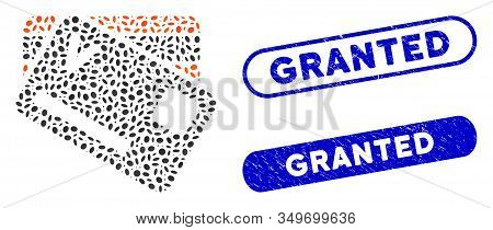 Mosaic Banking Cards And Rubber Stamp Seals With Granted Caption. Mosaic Vector Banking Cards Is Com