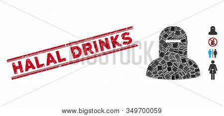 Mosaic Muslim Hijab Pictogram And Red Halal Drinks Stamp Between Double Parallel Lines. Flat Vector