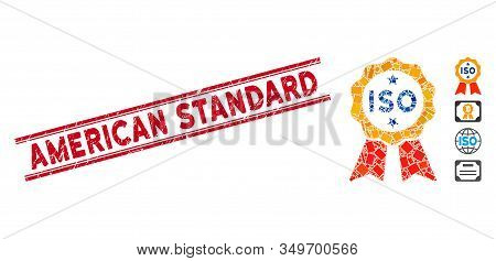 Mosaic Iso Certified Pictogram And Red American Standard Seal Between Double Parallel Lines. Flat Ve