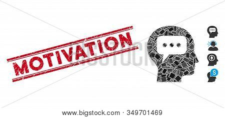 Mosaic Head Opinion Icon And Red Motivation Rubber Print Between Double Parallel Lines. Flat Vector