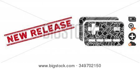 Mosaic Medical Insurance Cards Pictogram And Red New Release Seal Between Double Parallel Lines. Fla